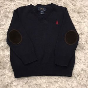Polo Toddler Boy Navy Sweater w/ elbow patches, 2T